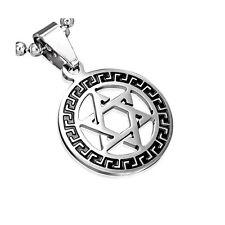 Stainless Steel Silver-Tone Greek Key Jewish Star David Charm Pendant Necklace