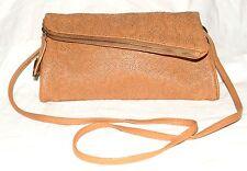 Jessica Simpston Tan w/ Stitched Heart Design Faux Leather Clutch Crossbody Bag