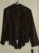 INC Woman Dark Brown Open Cut Out Draped Cardigan $99 Jacket Size 2X NWT
