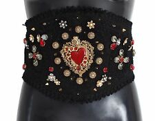 NEW $2100 DOLCE & GABBANA Belt 'Torero' Black Brocade Crystal Sacred Heart s. S