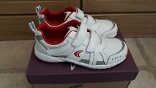 Brand New Girls Boys White & Red Clarks Leather Trainers Cross Chip Inf 12F