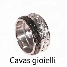 Anello donna FASCIA Argento 925‰ rodiato catene diamantate natur.e  rutenio nero