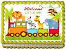 TRAIN SAFARI BABY ANIMALS Image Edible cake topper decoration