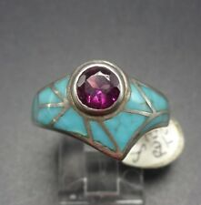 DAVID FREELAND Sterling Silver RUBELITE & Turquoise Inlay RING, size 8.25