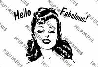 Poster Art Cult 1940s Vintage Retro Pin-up Hello Fabulous Picture re-print,A4 A3