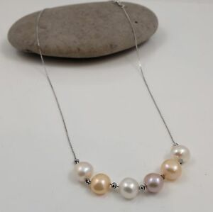 Fine Freshwater Baroque Pearl & Sterling Silver Chain 18'' Rainbow or Peacock