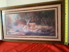 Home Interiors - Vintage Deer In Woods Picture Frame (wall decor)