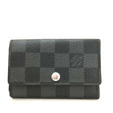 100% Authentic Louis Vuitton Damier Graphite Multicles 6 Ring Key Case /e433
