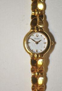 BULOVA 97T84 Gold-Tone Bracelet White OPAL Dial Ladies Dress Watch