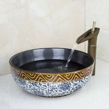 Bathroom Vessel Sink Ceramic Round Basin Bowl + Waterfall Spout Mixer Tap Faucet