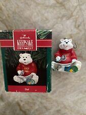 Vintage 1991 Hallmark Keepsake Polar Bear Dad Christmas Holiday Ornament W/box