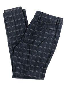 River Island Mens New Blue & White Check Slim Smart Trousers Sz W32 - W30 BNWT