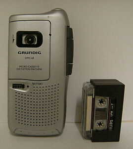 Grundig DMC-68 Micro-Cassette Dictation Machine (Dictaphone) + 2 x extra tapes