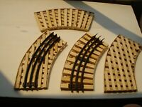 """LIONEL O SCALE REVERSIBLE 10"""" CURVED WOOD BRIDGE USA MADE REAL WOOD LOOK @ PICS"""