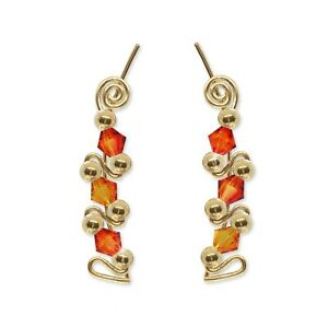 Ear Climbers Ear Crawlers Sweeps Earrings Gold Swarovski Fire Opal Crystals #248