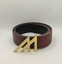 "Mint Worldwide Crocodile Leather Belt, Burgundy, 37"" Length - Fits 28-30"" Waist"