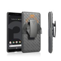 Google Pixel 3a, Pixel 3a XL Case,Rugged Holster Cover Kickstand + Belt Clip