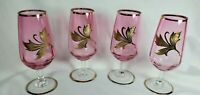 MINT Rare Set 4 Bohemian Crystal Gold Trimmed Liquer Glasses, Gold Lily Center