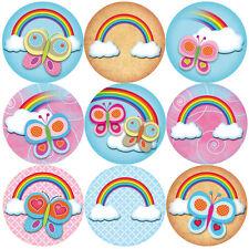 144 Rainbow Butterflies 30mm Children's Reward Stickers for Teachers, Party Bags