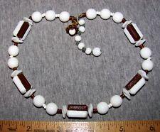 Vintage Signed Miriam Haskell Chocolate &Vanilla Milk Glass Puzzle Bead Necklace