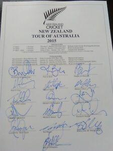 New Zealand 2015/16 SIGNED Test Tour of Aust. Williamson Boult Southee etc. D/N