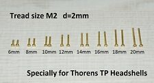 Fixing Screw Kit M2 Brass / Cartridge / Mounting for Thorens TP-50 Headshells
