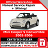 # FACTORY WORKSHOP SERVICE REPAIR MANUAL MINI COOPER S CONVERTIBLE 2002 - 2006