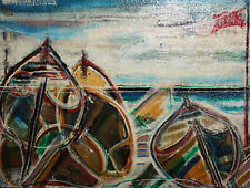 Expressionist oil painting fishing boats signed