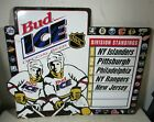 Large Vintage 1995 Budweiser Beer Bud Ice NHL Hockey Metal Standings Sign