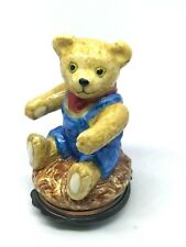 Halcyon Days Enamels Teddy Bear in Overalls Trinket Box w/Original Box England