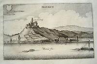 Burg Marksburg Braubach Rhein Lahn  alter Merian Erstausgabe Kupferstich 1645