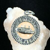 Vintage Sterling Silver Queen Mary Long Beach Charm Open Pendant Ship California