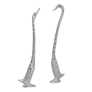 Set of 2 Handcrafted Decoration Silver Plated Aluminum Swan Showpieces