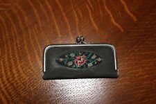 "Vintage Manicure Set in Floral Tapestry Case 3 1/8"" x 1 7/8"" Travel or Purse"