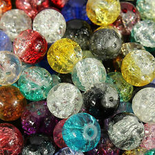 100PC Mixed Crystal Crack Glass Round Loose Spacer Jewelry Beads Charm Flaw 8mm