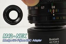 Bokkeh M&F M42-SONY E NEX Lens Adapter Mamiya Fujinon Version Black Pin-Block