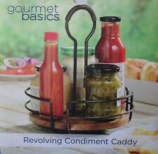 Gourmet Basics by MIKASA Hanover Revolving Condiment Caddy w/ Acacia Wood Tray