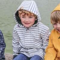 Batela Children's Striped White & Navy Raincoat