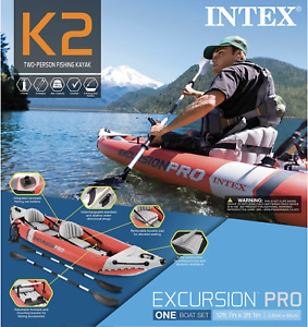 Intex Excursion Pro 2 Person Kayak with Oars Pump BRAND NEW ✅200+ FDBACK ✅