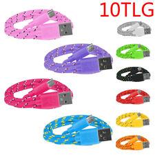 10x 1m Micro USB Ladekabel Daten Schnelllade Kabel für Samsung, LG, Nylon,Kordel