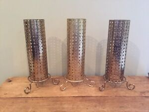 Vintage Mid Century Modern Retro Gold Metal Mesh Reticulated - 3 Candle Holders