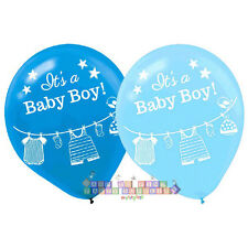 BABY SHOWER WITH LOVE BOY LATEX BALLOONS (15) ~ Party Supplies Decorations Blue