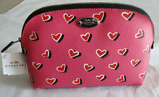 "NWT Coach Leather 6"" x 8"" Cosmetic Case Make-up Bag Pink Hearts F52685"