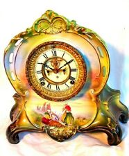 Ansonia Royal Bonn China Clock *Lg.* La Riviere *Beach Scene* c.1880
