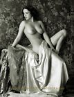 """Vintage Nude Woman Partially Draped 8.5x11"""" Photo Print, Naked Female on Stage"""