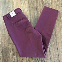 White House Black Market NWT Women's The Slim Ankle Pant Size 8 Burgundy MSRP$89