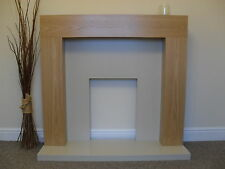 ELECTRIC OAK & CREAM STONE EFFECT FLAT WALL MOUNTED MANTEL FIRE FIREPLACE SUITE