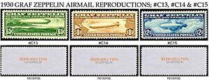 1930 GRAF ZEPPELIN C13, C14 & C15 REPRODUCTION SET OF 3