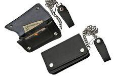 """Bi-fold Mens black leather 6 """" Biker / Trucker wallet 12"""" chain. Snap belt loop"""