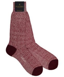 Brooks Brothers Mens 1 Pair Red Cableknit Linen Cotton Blend Socks 7-12 8351-7